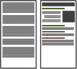 To tekstblokke, hvor forskellen består i white space
