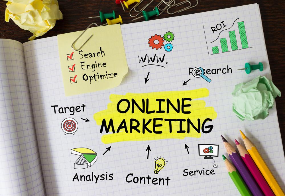 Illustration over online marketing for at illustrere en online markedsføringsstrategi