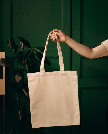 Et indkøbsnet, der holdes i en udstrakt arm for at blive vist frem til en webshops